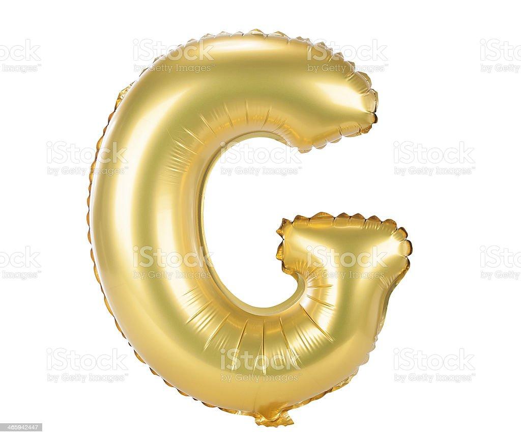 Gold balloon font upper case letter G stock photo