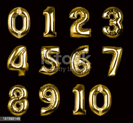 istock Gold Balloon Numbers 1-10 (+clipping paths, XXL) 157393149