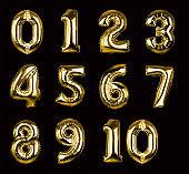 ゴールドの球ナンバーズ 1 -10 (クリッピングパス、XXL