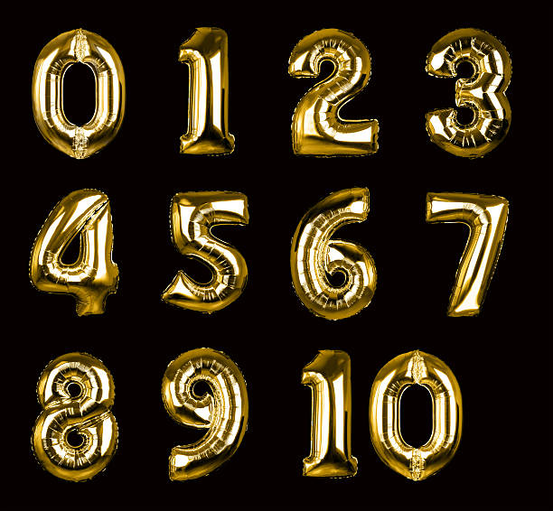 gold balloon numbers 1-10 (+clipping paths, xxl) - anniversary stock photos and pictures