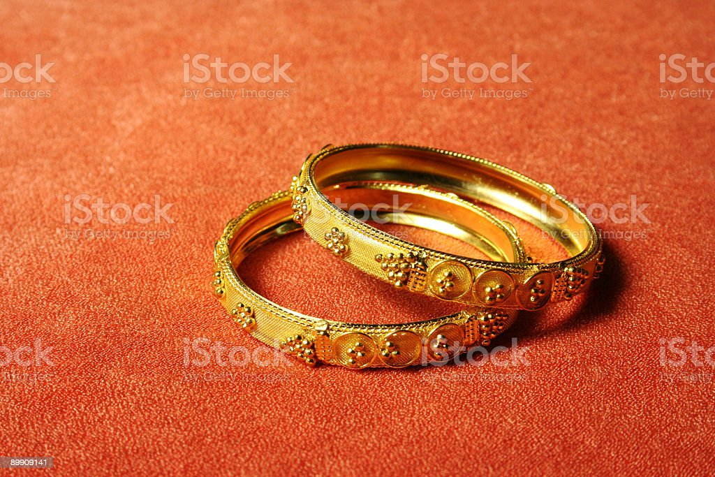 Gold bangles stock photo