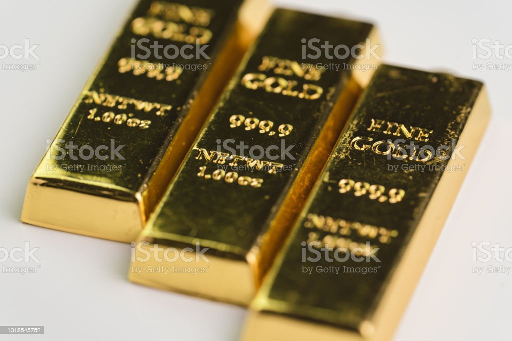 Gold bar bullions ingot, selective focus, crisis safe haven for investment or reserve for country economics stock photo