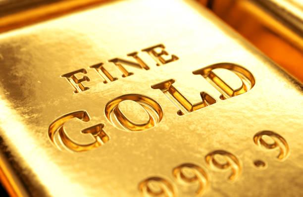 Barra de ouro de perto - foto de acervo