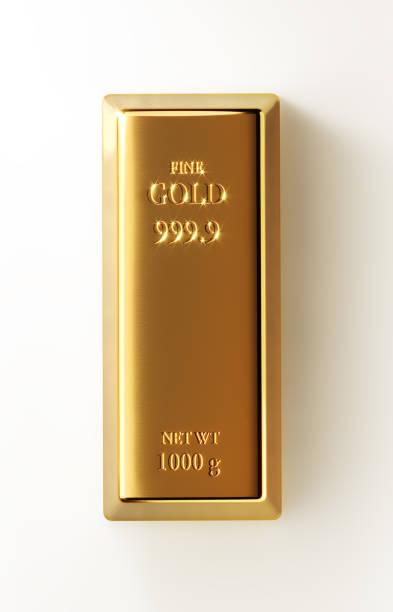 Barra de ouro, isolado no fundo branco - foto de acervo