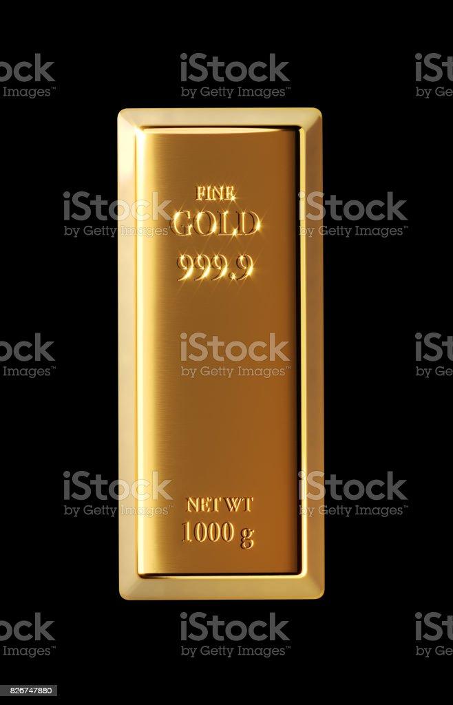 Barra de ouro sobre fundo preto - foto de acervo