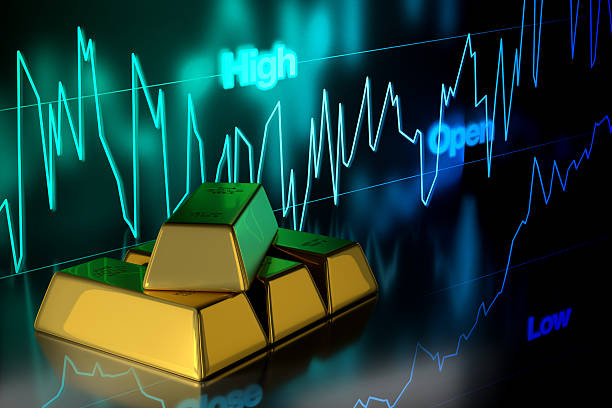 Gold Bar with Gold Price Chart Background, 3D Rendering - foto de acervo