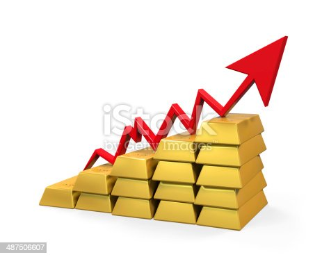 istock Gold Bar with Red Arrow 487506607