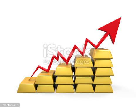 486678786 istock photo Gold Bar with Red Arrow 487506611