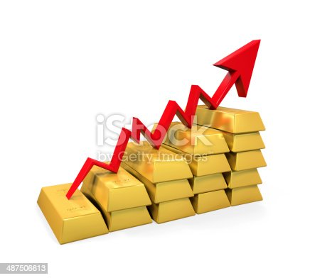 486678786 istock photo Gold Bar with Red Arrow 487506613