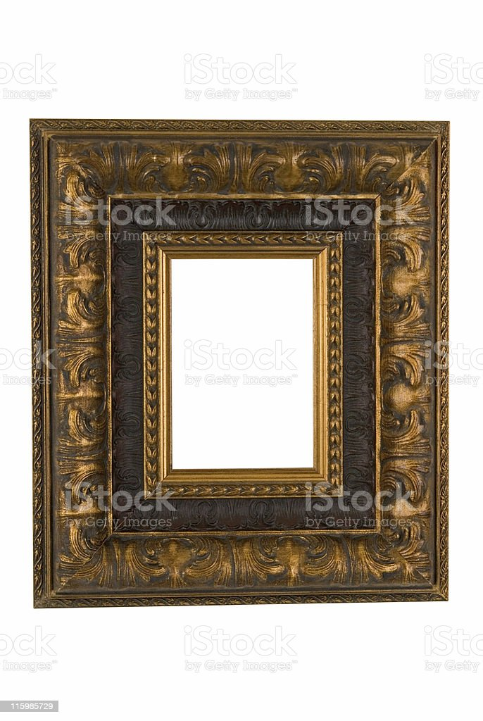 Gold Baroque Picture Frame, White Isolated royalty-free stock photo
