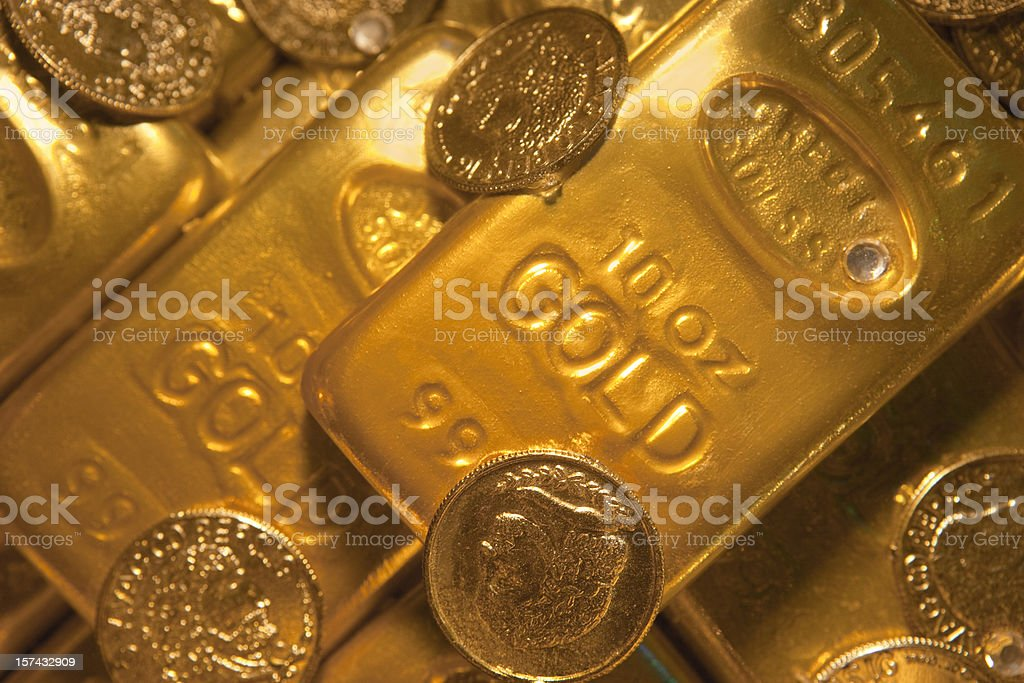 Gold Bars and Coins royalty-free stock photo