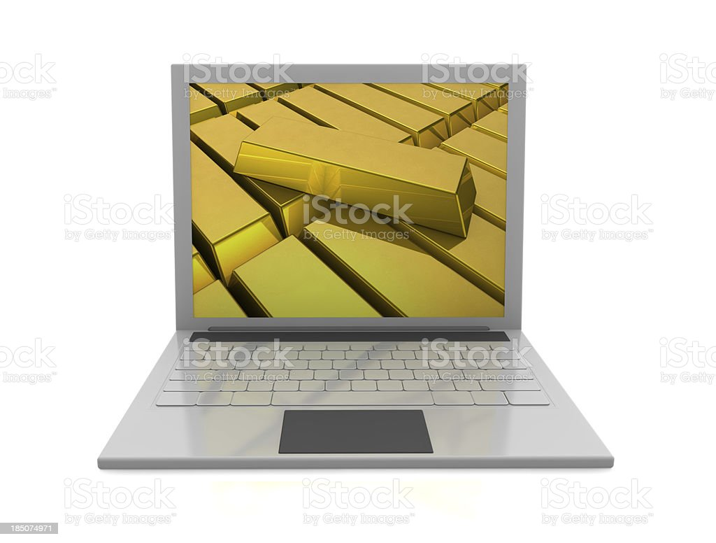 Gold Bars and Laptop royalty-free stock photo