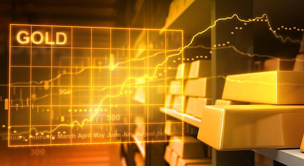 Gold bars and stock market stock photo