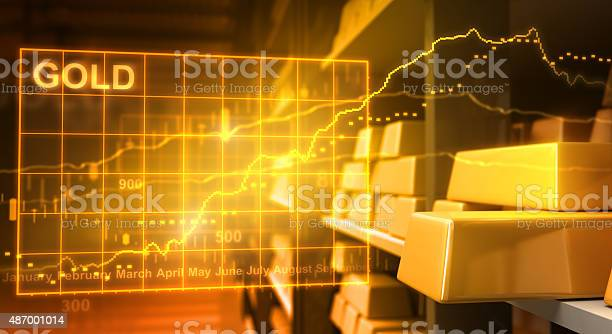 Gold Bars And Stock Market Stock Photo - Download Image Now