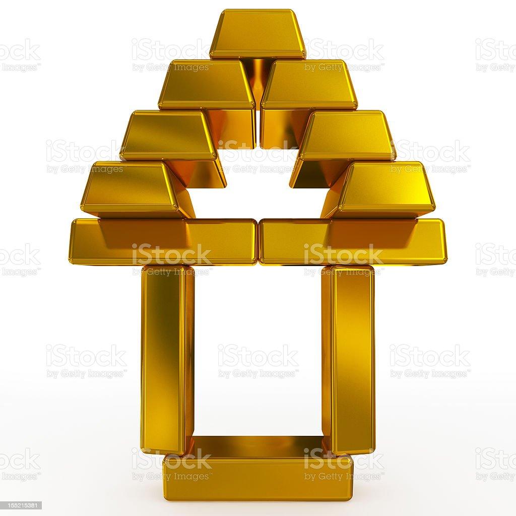 gold bars house royalty-free stock photo