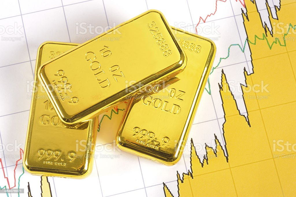gold bars on chart stock photo