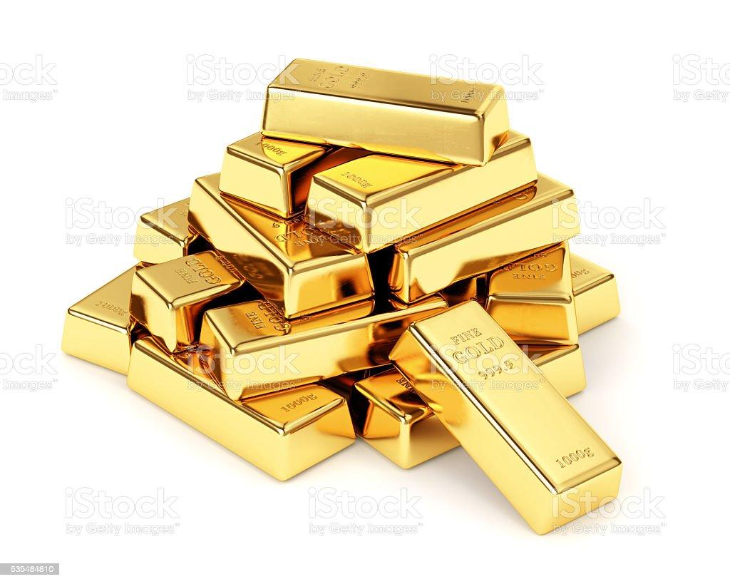 Barras de ouro sobre fundo branco - foto de acervo