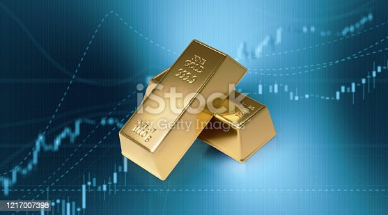 Gold bars sitting in front of bar graph. Selective focus. Horizontal composition with copy space. Stock market and finance concept.