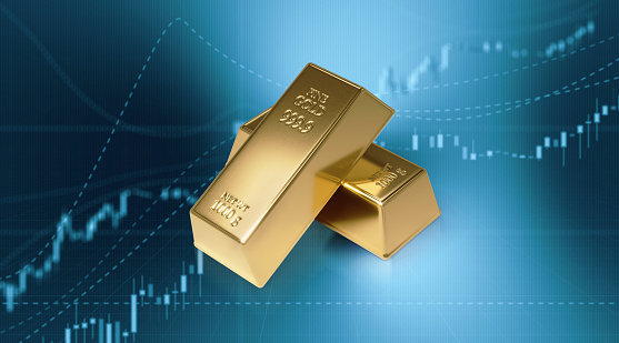 Gold Bars Sitting In Front Of Bar Graph Stock Market And Finance Concept  Stock Photo - Download Image Now - iStock