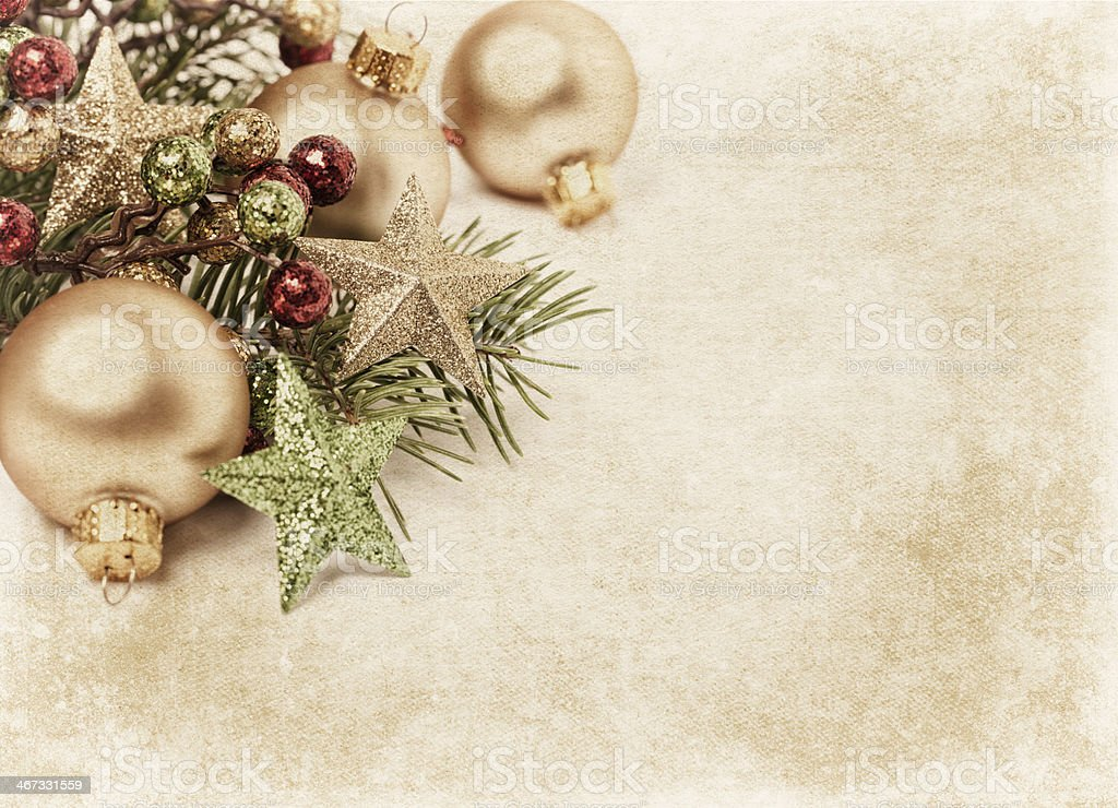 Gold Baubles and Stars Isolated on White royalty-free stock photo