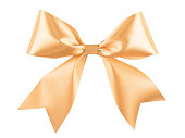 istock Gold beige ribbon bow isolated on white background 1079761154
