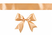 istock Gold beige ribbon bow isolated on white background 1125208924