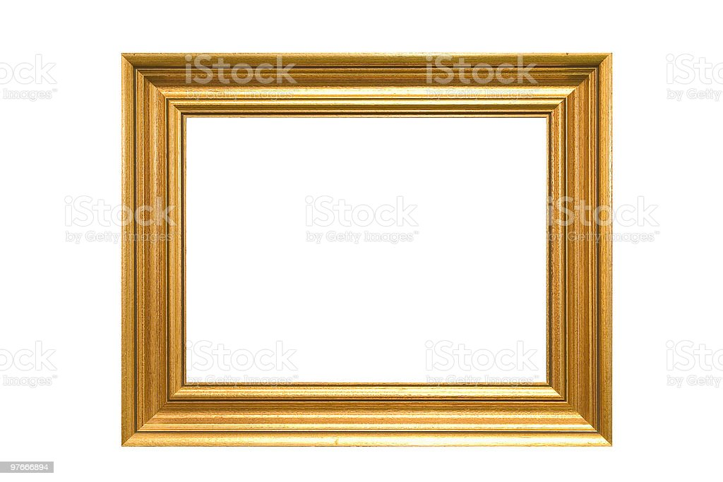 Gold beveled picture frame with no picture royalty-free stock photo