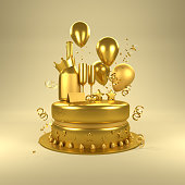 istock Gold Birthday Surprise 813910930