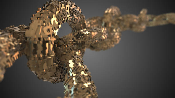 Gold bitcoin graphic 3d render blockchain decentralized digital currency stock photo