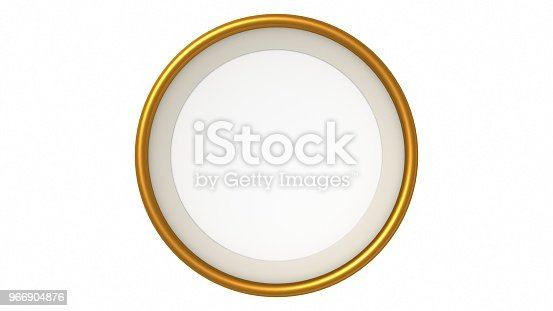 1144461291 istock photo Gold blank circle frame on white background. 3d rendering 966904876