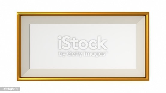1144461291 istock photo Gold blank frame on white background. 3d rendering 966905162
