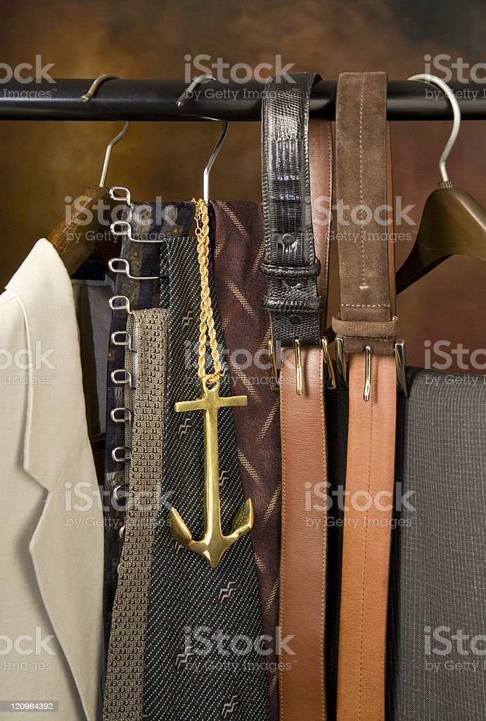 gold bling necklace with ties stock photo