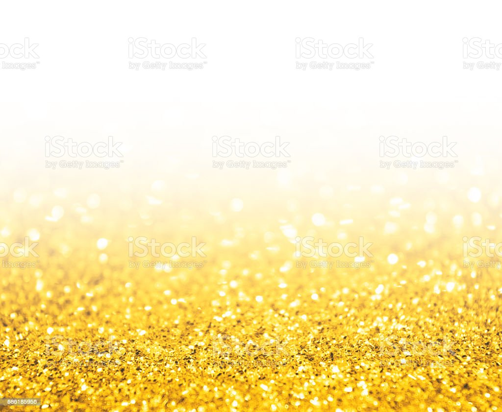 gold bokeh background with white copy space stock photo