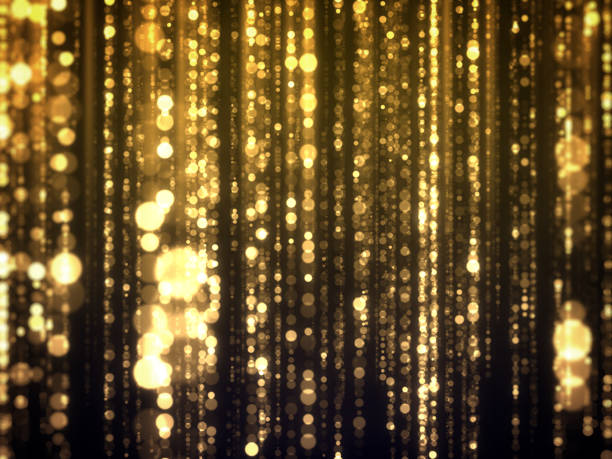 gold bokeh falling glamour abstract background - glamour stock photos and pictures