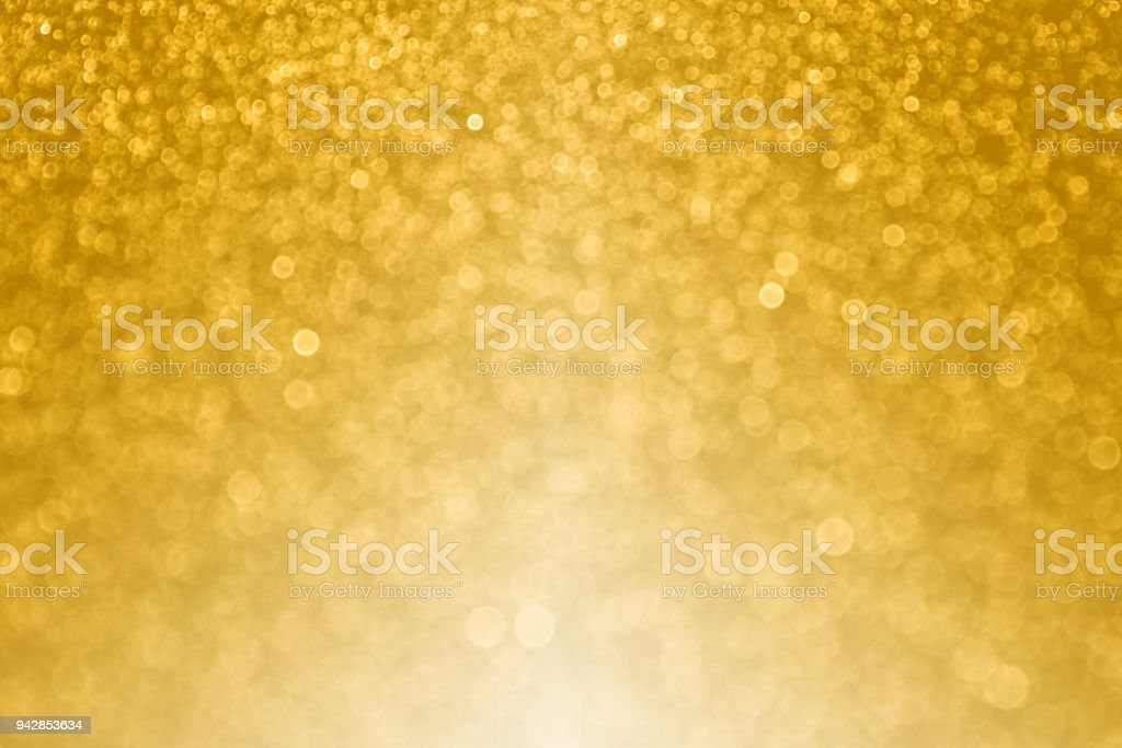 Gold Bokeh Sparkle Background for Happy Birthday or Wedding Anniversary stock photo