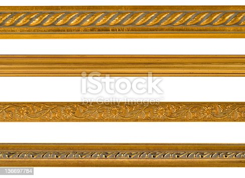 Gold borders and edge design elements isolated on white, repeating patterns in picture frame mouldings.