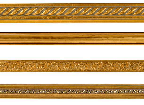 Gold Border and Edge Design Elements, White Isolated stock photo
