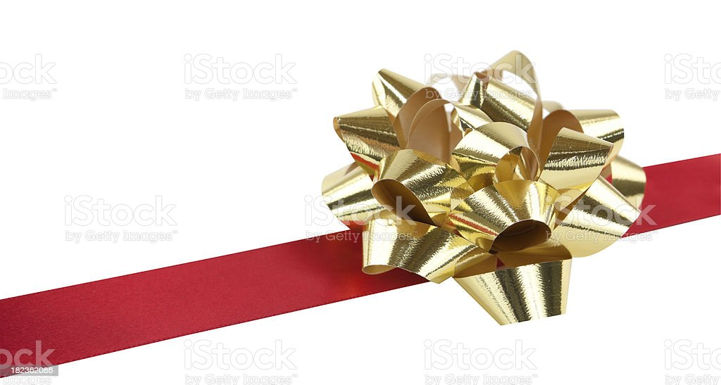 Gold Bow and Red Ribbon Isolated stock photo