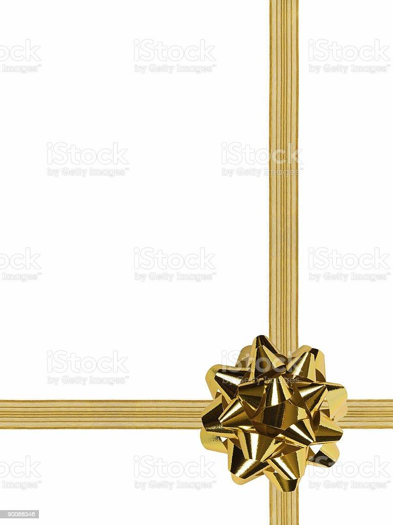 Gold bow and ribbon stock photo