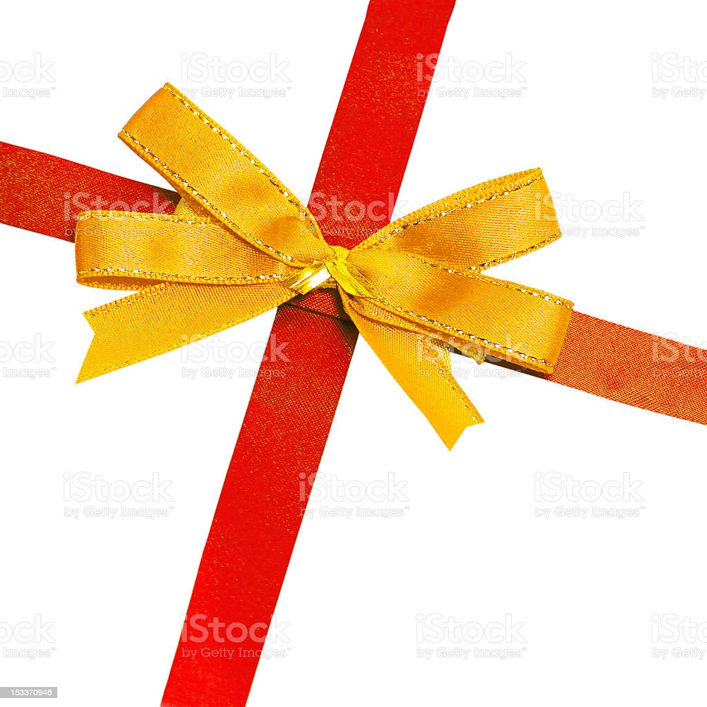 gold bow on red ribbon royalty-free stock photo