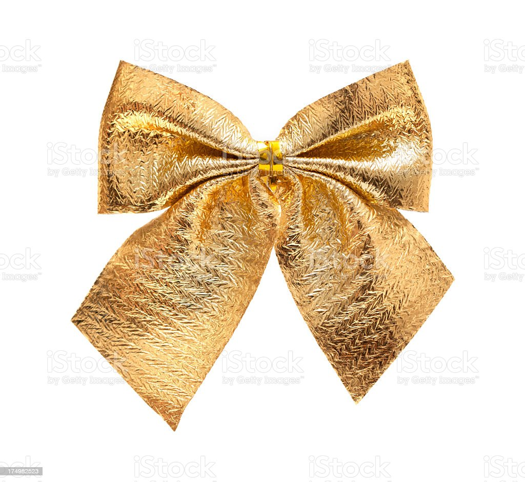Gold Bowknot (Clipping path) isolated on white background stock photo