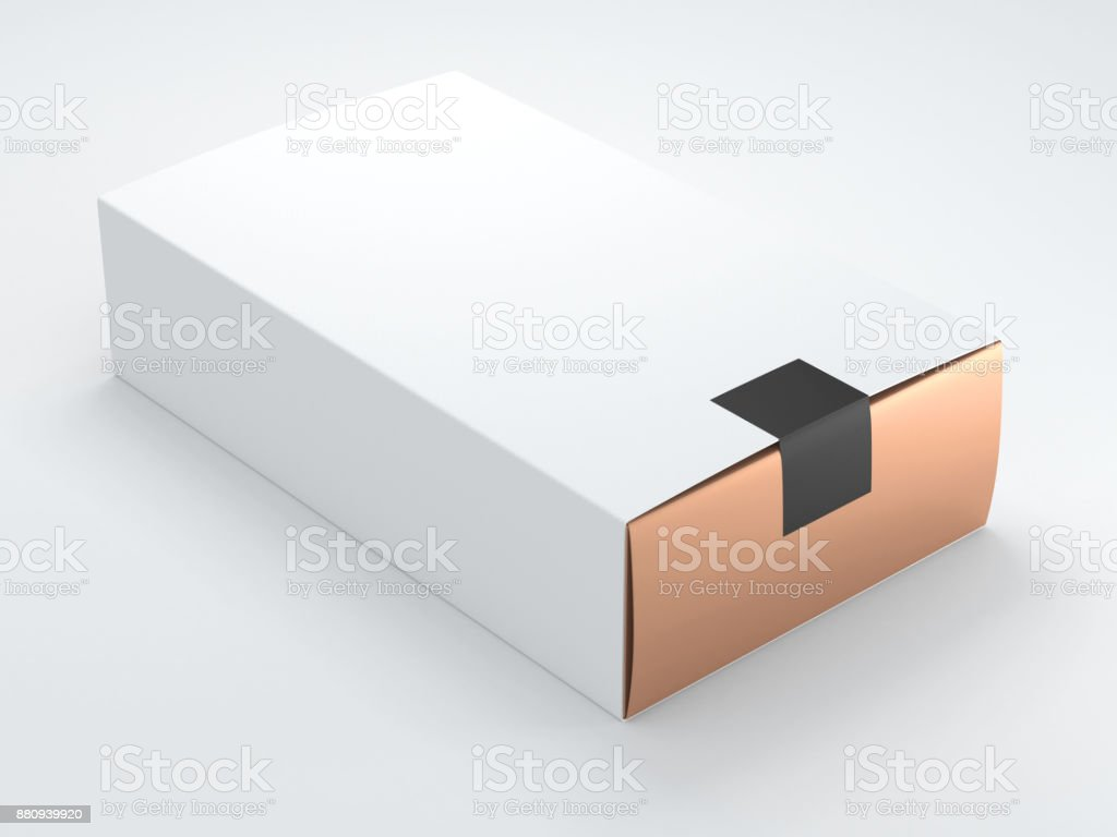 Gold Box with black sticker and white Cover stock photo