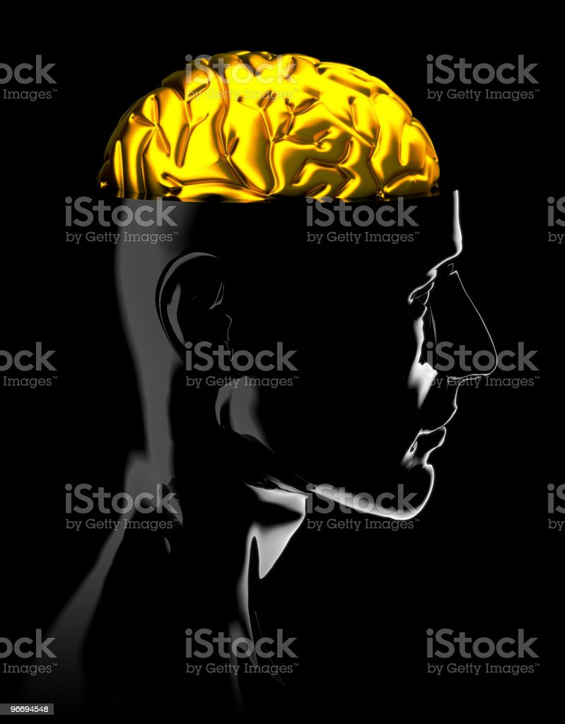 Gold brain royalty-free stock photo