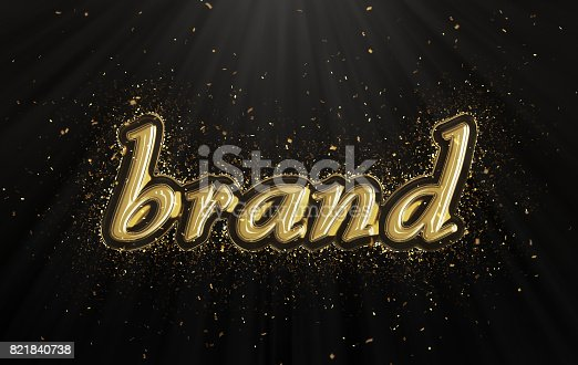 istock Gold brand word with confetti 821840738