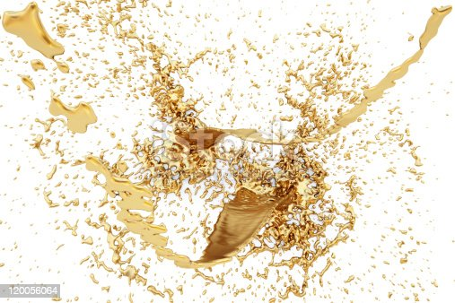 istock Gold brown liquid splash on white background 120056064