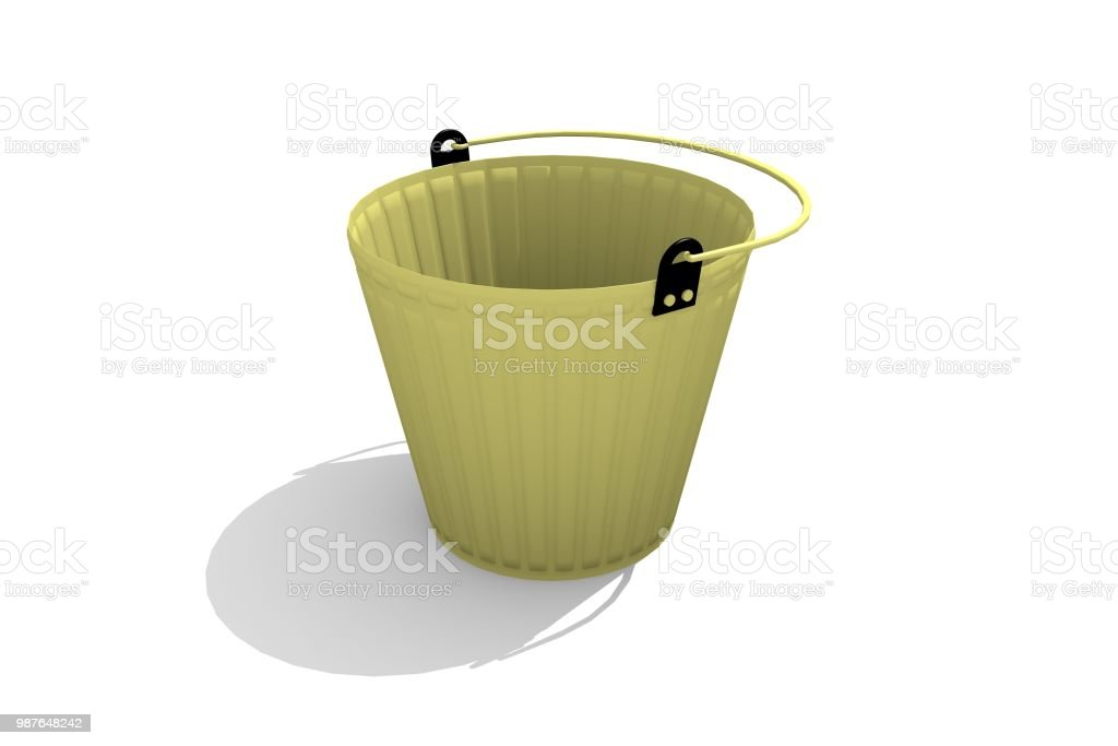 Gold bucket on a white background стоковое фото