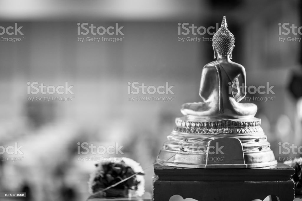Gold Buddha Statue On The Table Symbol Of Buddhism Religion In Thai