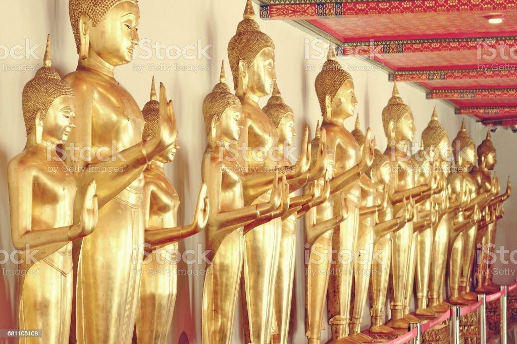 Gold Buddha statues stock photo