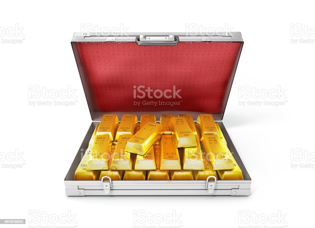 gold bullion in an open suitcase.3d illustration royalty-free stock photo