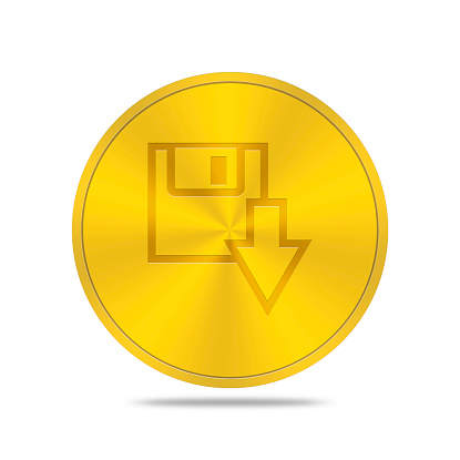 istock gold button with save icon 468268038